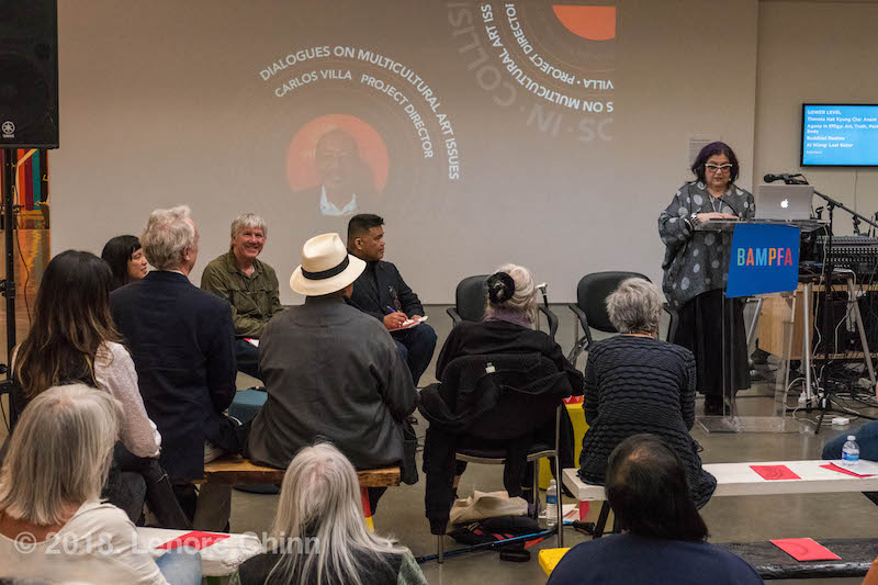 Amalia Mesa-Bains' lovely keynote, to open the Carlos Villa Legacy panel (Jeff Gunderson, Lian Ladia, Theo Gonzalves, Dewey Crumpler) (photo: Lenore Chinn)